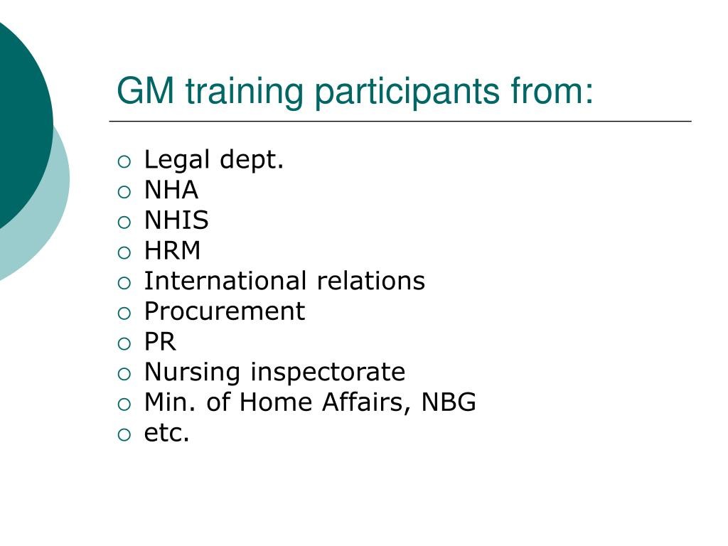 GM training participants from: