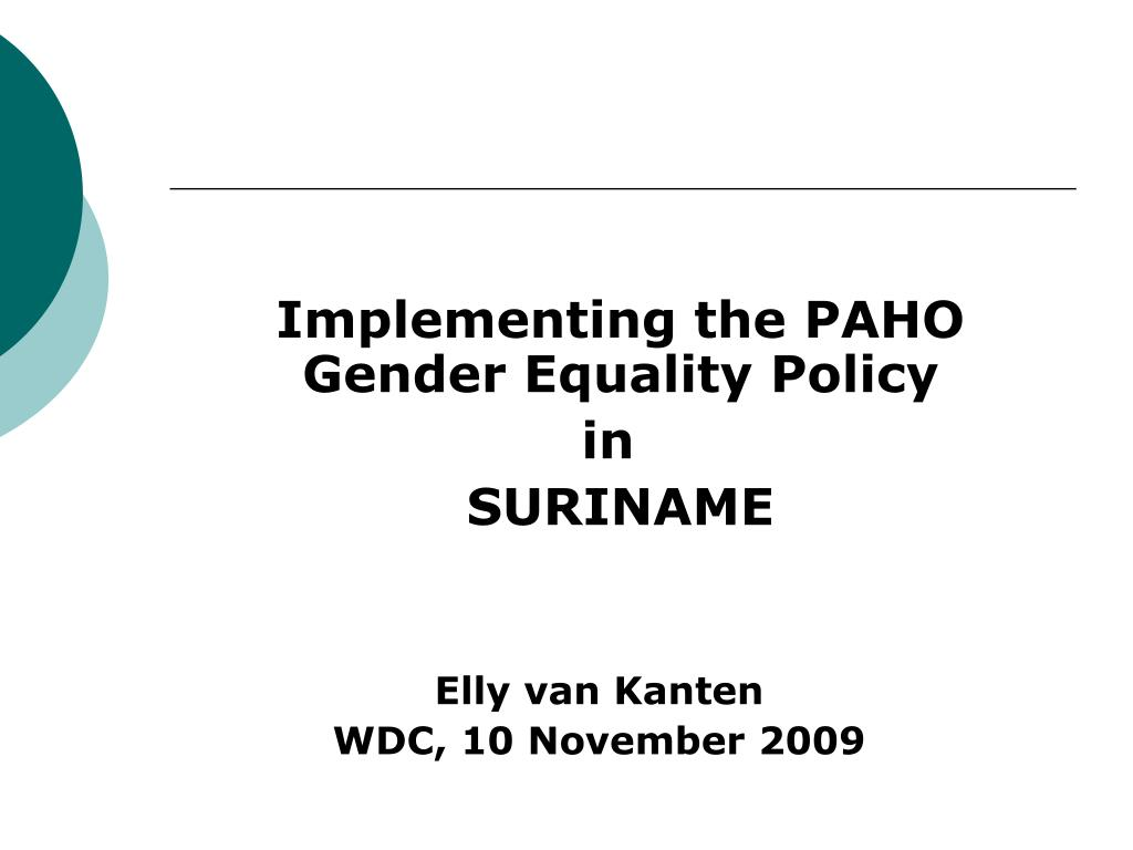 Implementing the PAHO Gender Equality Policy