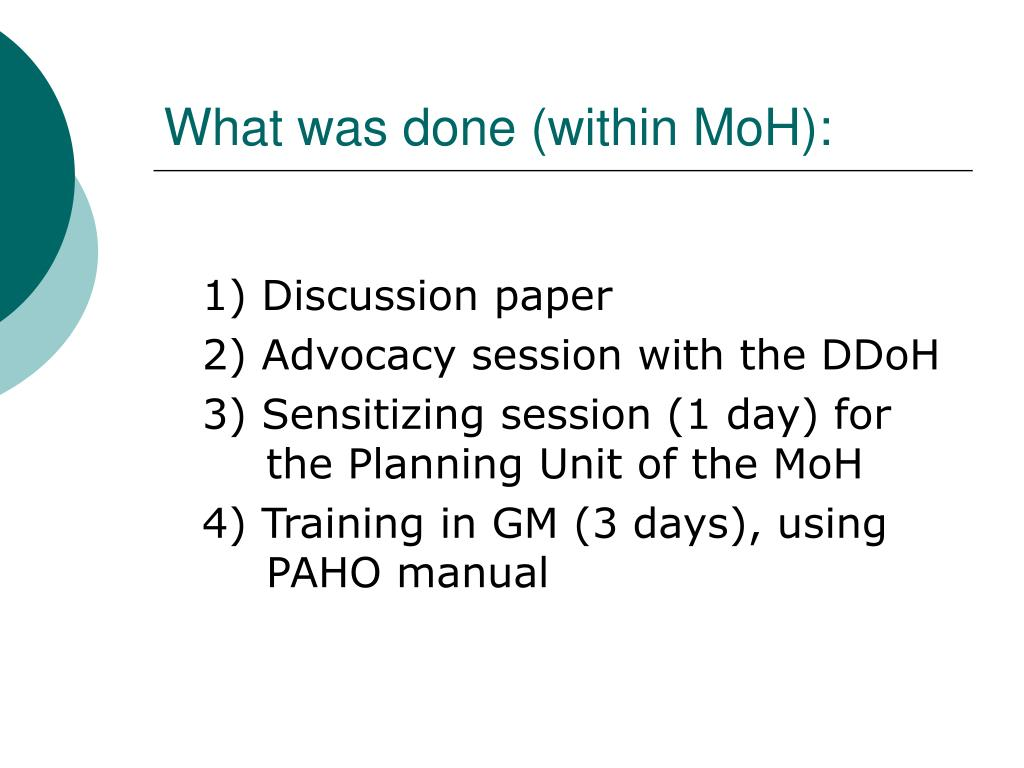 What was done (within MoH):