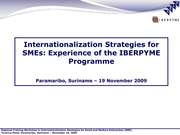 Internationalization Strategies for SMEs: Experience of the IBERPYME Programme
