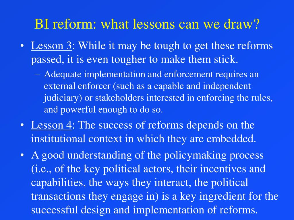 BI reform: what lessons can we draw?