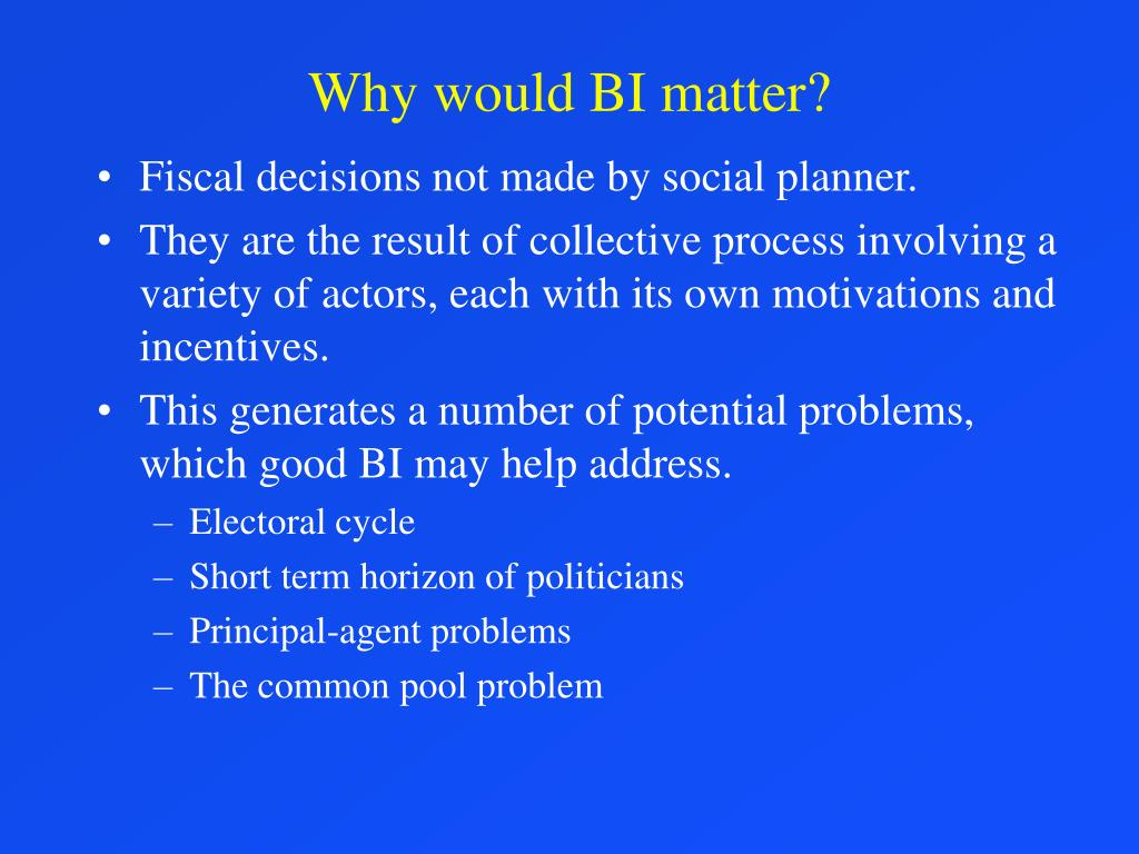 Why would BI matter?