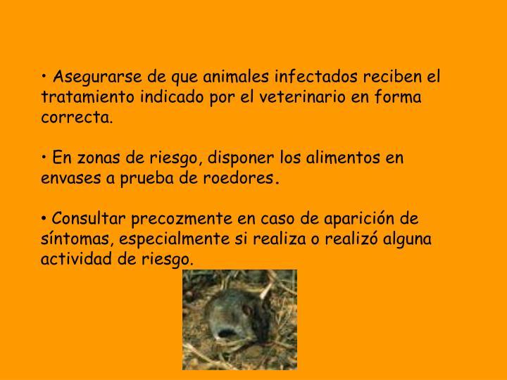 Asegurarse de que animales infectados reciben el tratamiento indicado por el veterinario en forma correcta.