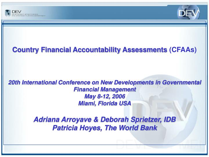 Country Financial Accountability Assessments