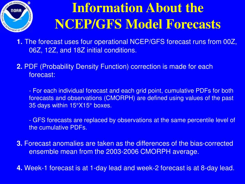 Information About the NCEP/GFS Model Forecasts