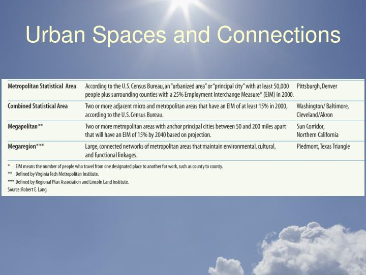 Urban Spaces and Connections