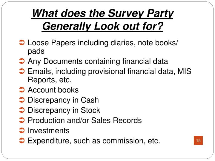 What does the Survey Party Generally Look out for?