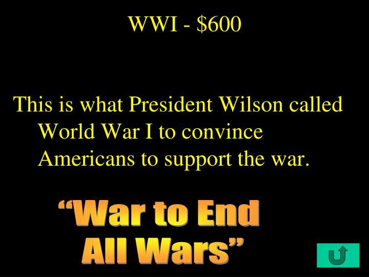 WWI - $600
