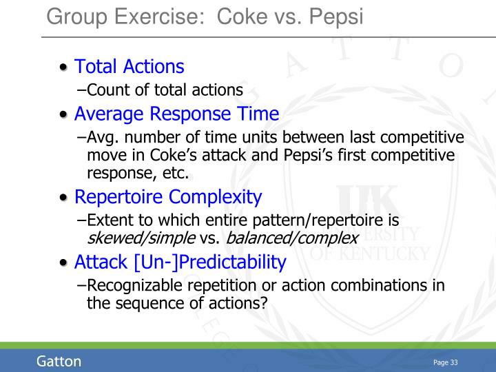 Group Exercise:  Coke vs. Pepsi