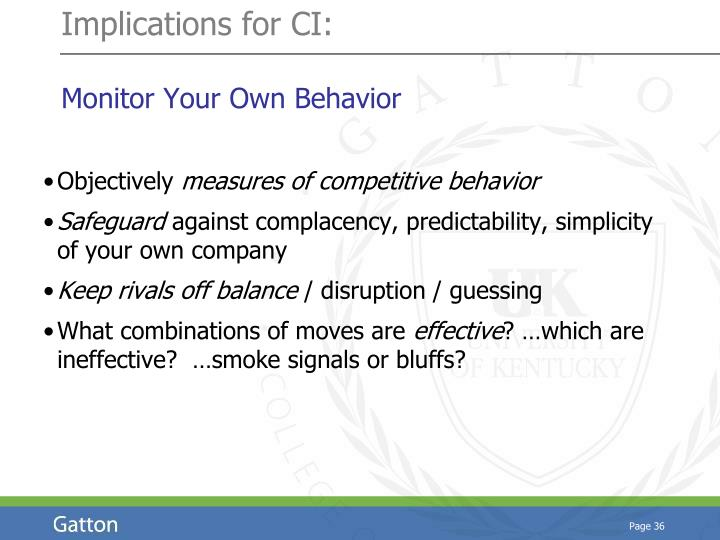 Implications for CI: