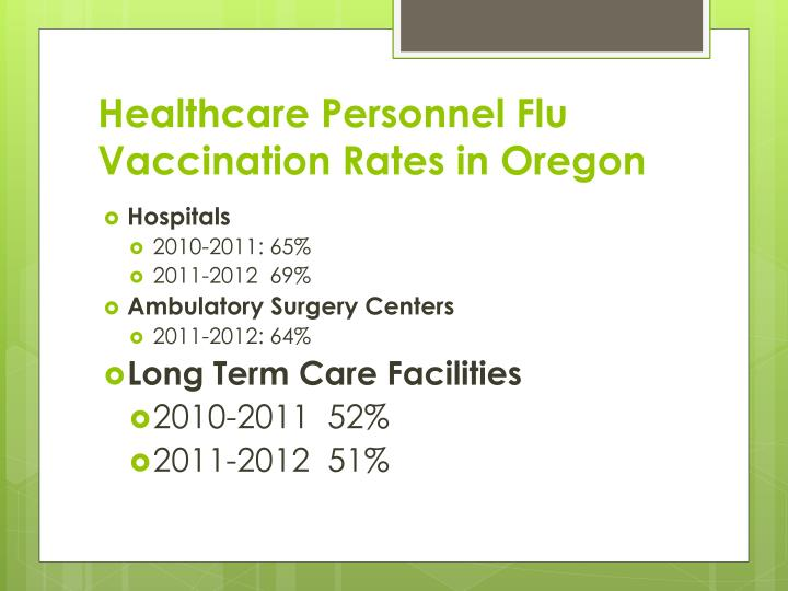 Healthcare Personnel Flu Vaccination Rates in Oregon