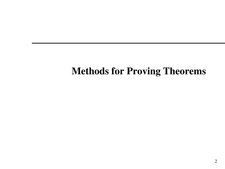 Methods for proving theorems