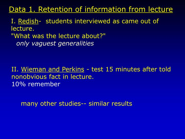 Data 1. Retention of information from lecture
