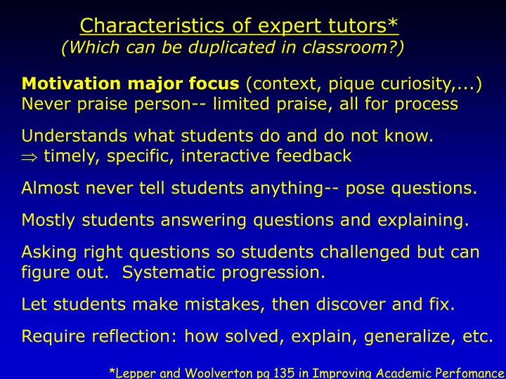 Characteristics of expert tutors*