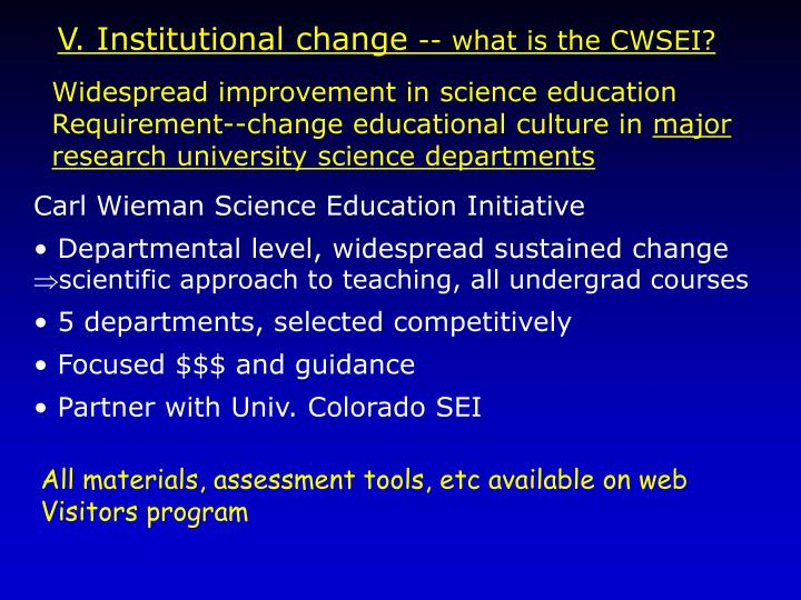 V. Institutional change