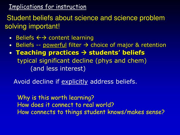 Beliefs  content learning