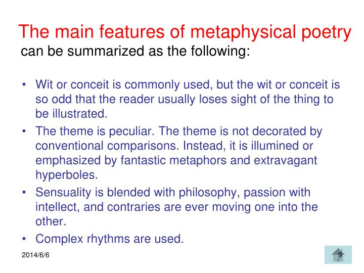 The main features of metaphysical poetry