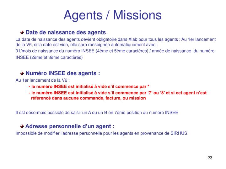 Agents / Missions