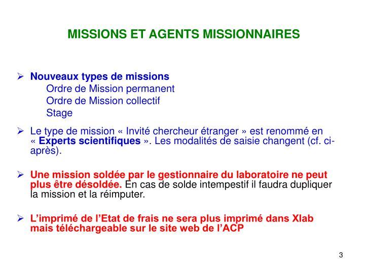MISSIONS ET AGENTS MISSIONNAIRES