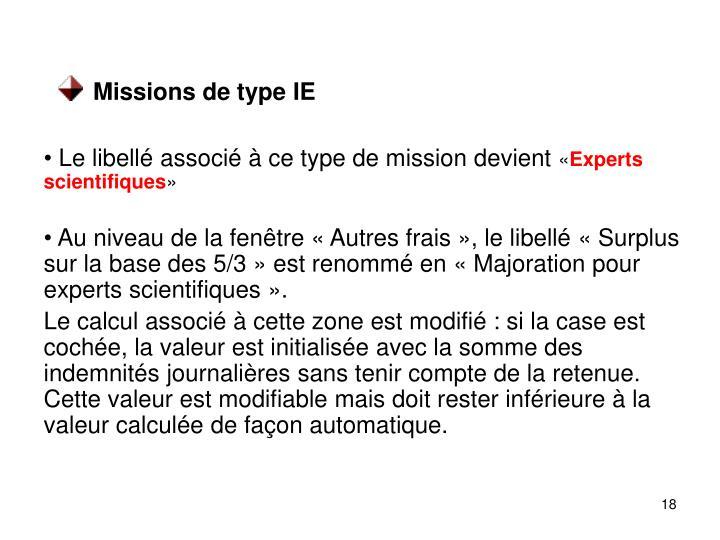 Missions de type IE