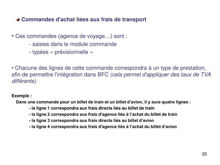Commandes d'achat liées aux frais de transport