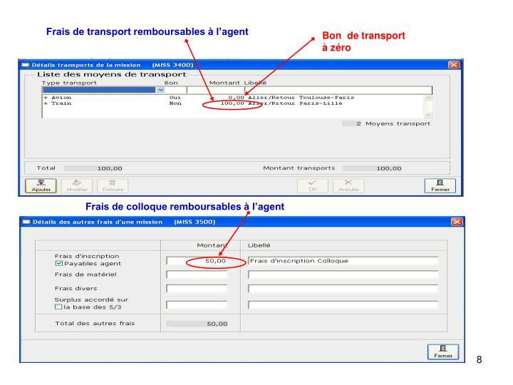 Frais de transport remboursables à l'agent