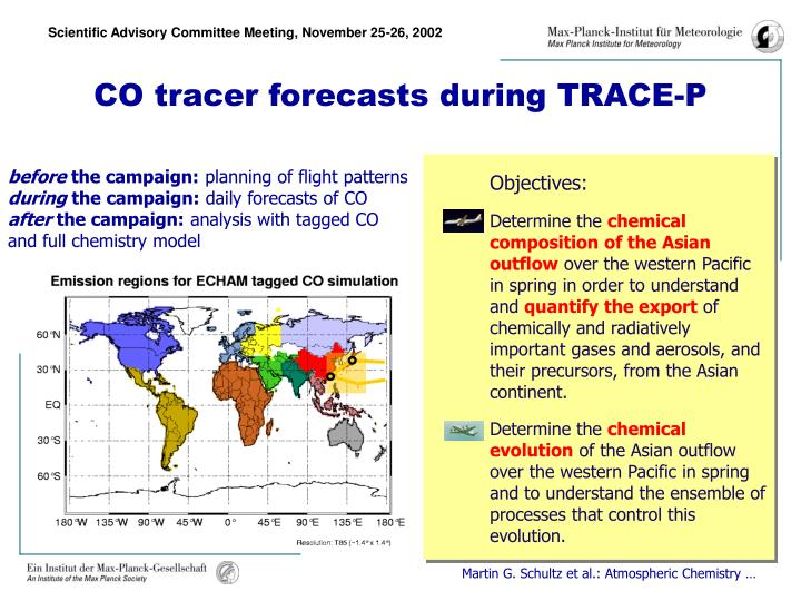 CO tracer forecasts during TRACE-P