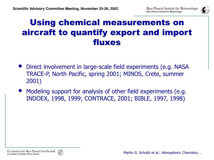 Using chemical measurements on aircraft to quantify export and import fluxes