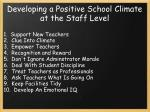 developing a positive school climate at the staff level1