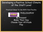 developing a positive school climate at the staff level2