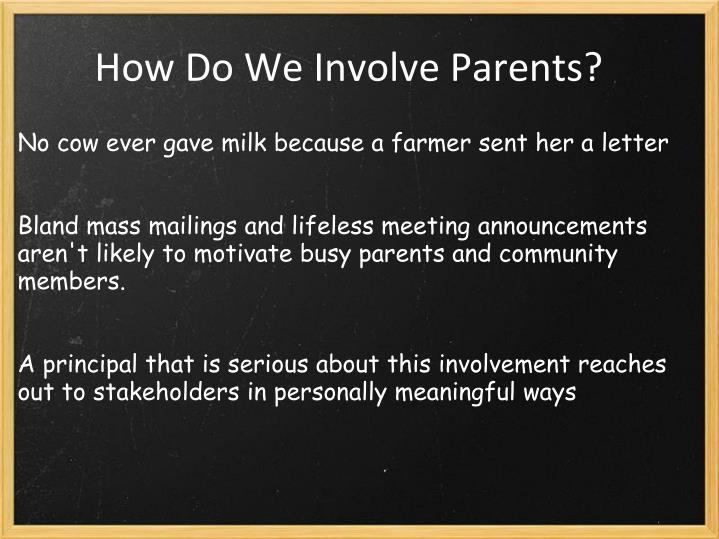 How Do We Involve Parents?