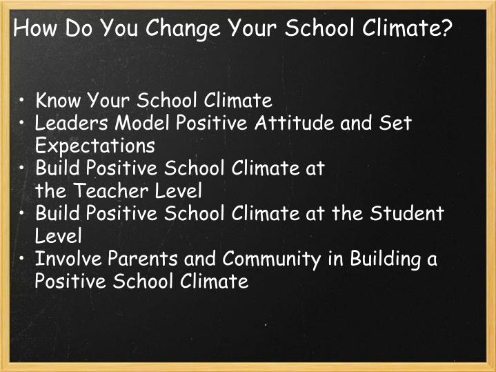 How Do You Change Your School Climate?