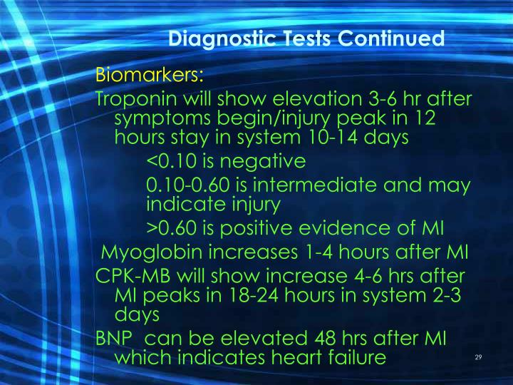 Diagnostic Tests Continued