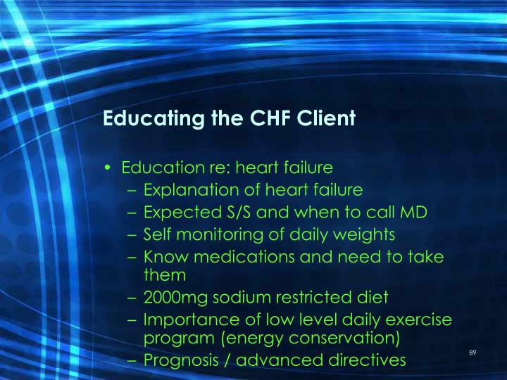 Educating the CHF Client