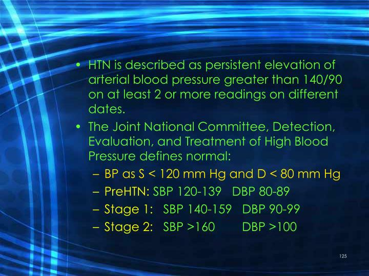 HTN is described as persistent elevation of arterial blood pressure greater than 140/90 on at least 2 or more readings on different dates.