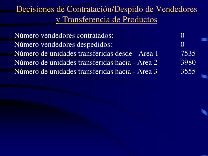 Decisiones de Contratacin/Despido de Vendedores y Transferencia de Productos