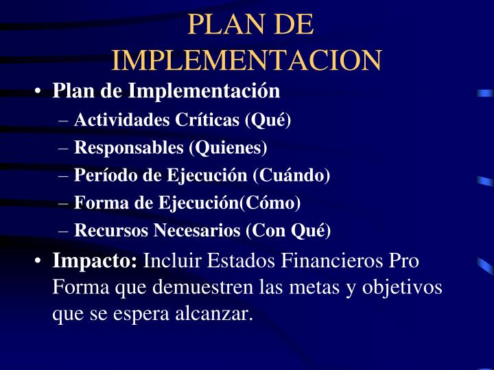PLAN DE IMPLEMENTACION