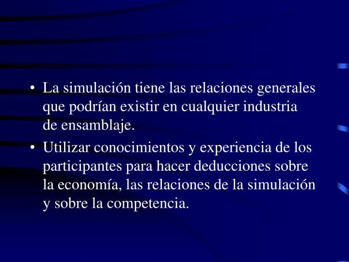La simulacin tiene las relaciones generales que podran existir en cualquier industria  de ensamblaje.