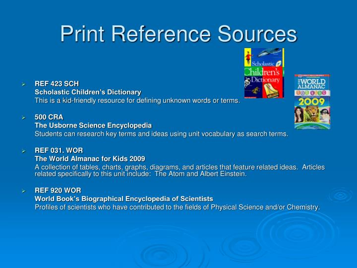 Print reference sources
