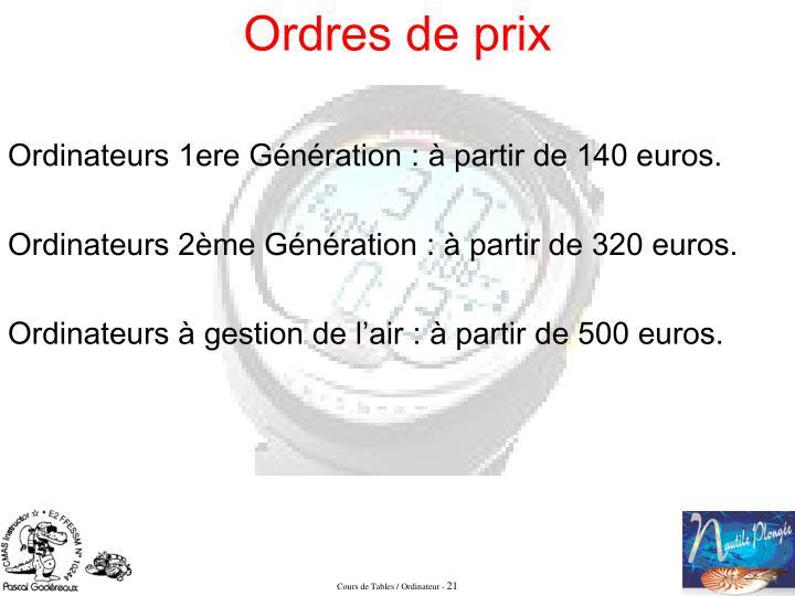 Ordinateurs 1ere Génération: à partir de 140 euros.