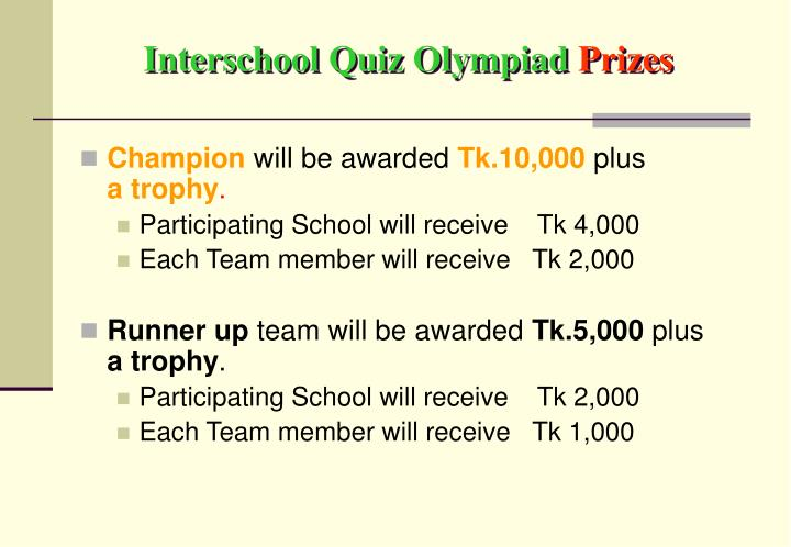 Interschool Quiz Olympiad