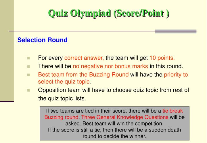 Quiz Olympiad (Score/Point )