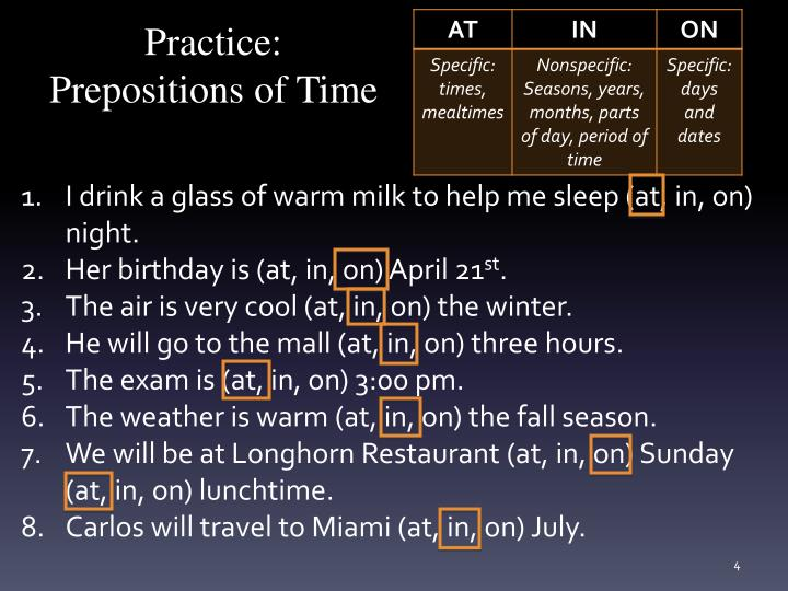 Practice: Prepositions of Time