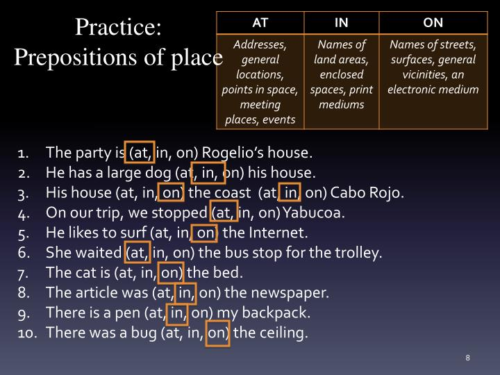 Practice: Prepositions of place