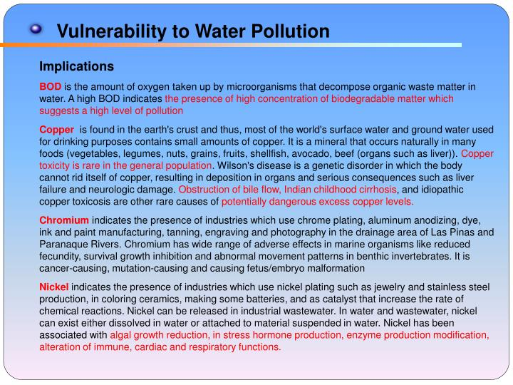 Vulnerability to Water Pollution