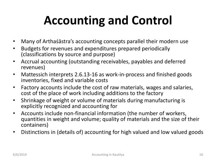 Accounting and Control