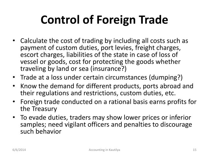Control of Foreign Trade