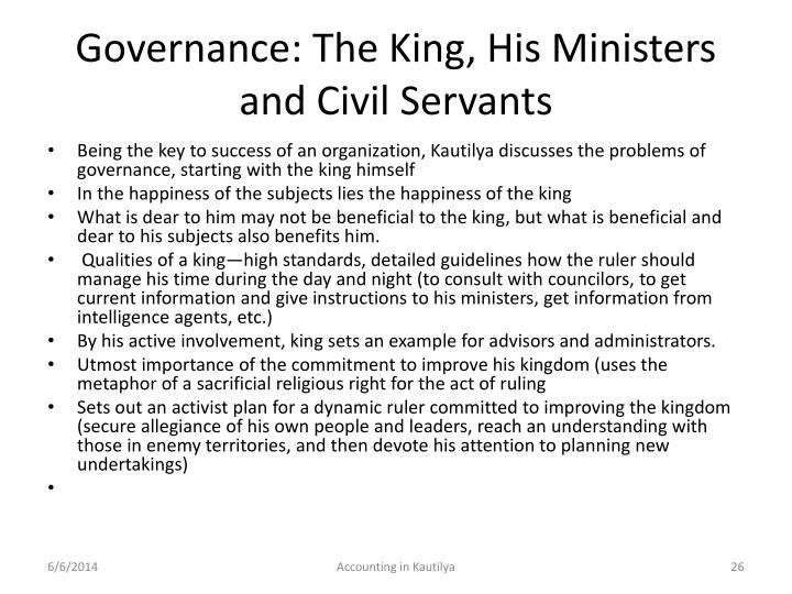 Governance: The King, His Ministers and Civil Servants