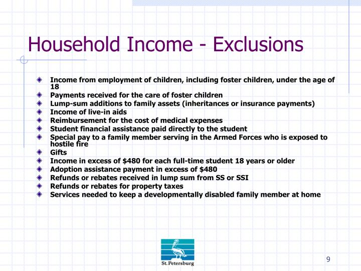 Household Income - Exclusions