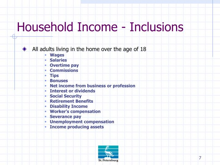 Household Income - Inclusions